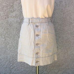 Anthropologie Paper Boy Linen Button Down Skirt